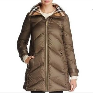 Burberry Chevron Quilted Down Puffer Coat - NEW!